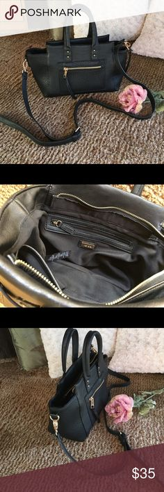 """Kensie bag Black with gold hardware material is 100% polyurethane lining 100% polyester inside 1 zip and 2 slip pockets no tears no stains bag measures approx 13.5"""" W x 8"""" H x 4"""" D  adjustable Crossbody strap is detachable if desiredhandle drop approx 4.5""""  Kensie Bags Crossbody Bags"""