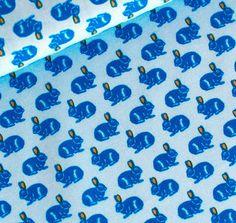 Tissu SOFT CACTUS Rabbit race bleu - Dimension pour 1 quantité 50 cm x 145 cm - 100% coton oeko tex standard chez NadegeTissus sur Etsy Studio