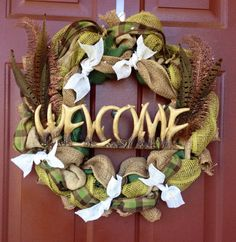 Welcome to my Cabin, hunting wreath, fishing wreath, hunting cabin, man cave, boys will be boys on Etsy, $60.00