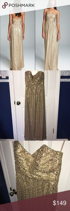 """Amsale gold sequin gown Wore this once to a wedding, in excellent condition!  Altered only at the hem.  50 inches long from top of dress to the bottom. I am 5'4"""", and the dress hit the floor with mid sized heels. Amsale Dresses Wedding"""