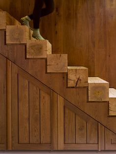 Solid Beam Stairs This solid beam wood stairs is the epitome of modern rustic design. Clean lines and minimalism are modern elements, while the warm burnished wood grains are nothing but rustic. Wooden Stairs, Rustic Stairs, Timber Staircase, Staircase Design, Wooden Beam, Painted Stairs, Spiral Staircases, Stair Design, Small Staircase