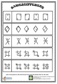 Make learning fun with these same and different worksheets for preschoolers. Help them to observe and compare objects by finding differences. Preschool Writing, Kindergarten Math Worksheets, Free Preschool, Preschool Kindergarten, Preschool Learning, English Worksheets For Kids, Therapy Worksheets, Kids Nursery Rhymes, Preschool Special Education