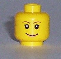 LEGO NEW YELLOW MINIFIGURE HEAD FEMALE RED LIPS EYELASHES LARGE WHITE SMILE PART