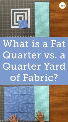 Quilting fabric can be purchased off of a bolt in lengths of anything from a few inches to a few yards. While the length of the fabric you purchase can differ drastically the width is generally consistent- anywhere from 42″ to 44″. Fabric is folded when it is stored on a bolt so when it is being cut the width of fabric you see is around 21″, folded in half. A quarter yard of fabric is 9″, making the total size of fabric purchased when getting a quarter yard 9″ x the width of fabric… Quilting Tutorials, Quilting Ideas, Quilting Projects, Quilt Patterns, Craft Projects, Sewing Projects, Projects To Try, Quilting Room, Quilting Fabric