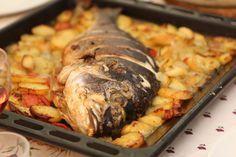 """La recette: Dorade royale à la provençale, via le site """"Les Recettes de ma Mère"""" (dorade,plats,poisson,pomme de terre,recette). http://lesrecettesdemamere.net/recette/dorade-royale-a-la-provencale/"""