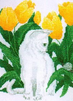 Bella cat with Tulips cross stitch kit