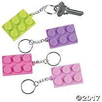 Pastel Color Brick Party Keychains - 12 ct