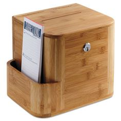 Bamboo Suggestion Box, 10 X 8 X 14, Natural                              …