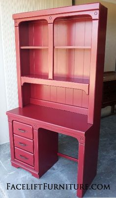 And why not paint Brianna's desk red? I paint everything else red!Desk with Hutch custom painted in customer's Red with Black Glaze. New hardware. Diy Furniture Projects, Paint Furniture, Repurposed Furniture, Kids Furniture, Furniture Makeover, Living Room Furniture, Refinished Furniture, Office Makeover, Furniture Upholstery