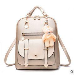 2016 New Women Leather Backpacks Bolsas Mochila Feminina Large Girls Schoolbag Travel Bag Solid Candy Color Femme Sac A dos