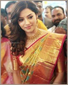 Image may contain: 1 person Wedding Saree Blouse, Bridal Silk Saree, Designer Bridal Lehenga, Silk Sarees, Kanjivaram Sarees, Saree Dress, Indian Sarees, South Indian Wedding Saree, Indian Bridal