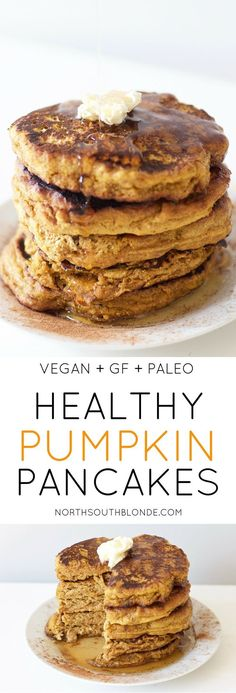 Healthy Pumpkin Pancakes (Vegan, Gluten-Free, Grain Free, Paleo) - These perfectly fluffy pumpkin pancakes will satisfy your pumpkin spice cravings this fall – with - Pancakes Végétaliens, Pancakes Vegan, Waffles, Paleo Pumpkin Pancakes, Breakfast Pancakes, Low Fat Pancakes, Low Calorie Pancakes, Gluten Free Pancakes, Fluffy Pancakes