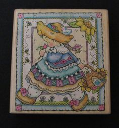 """PENNY BLACK WM RUBBER STAMP """"GIRL IN A GARDEN"""" FLOWERS BEEHIVE BIRD BEES #PennyBlack #Background"""
