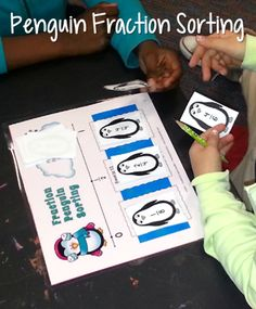 Penguin Fractions = Fraction Fun! Students sort penguin fraction cards into 3 groups by comparing them to 0, 1/2, and 1. Freebie included in the post! $ #LauraCandler