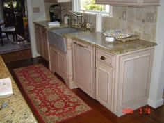 Custom Painted Kitchen Cabinets with Stone Farm Sink