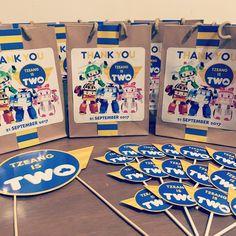 Robocar poli theme party printables, cupcake toppers, favor bag stickers