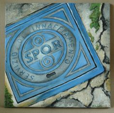 """SPQR Roman Manhole Cover (#1 in the Grateness of Rome Series) Original Acrylic Painting 12"""" x 12"""" by dragonbee on Etsy"""