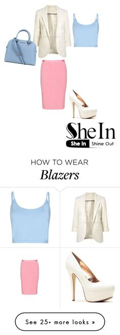 """http://www.shein.com/White-Hip-length-Ponte-Blazer-with-Rolled-Sleeves-Suit-p-91308-cat-1739.html?"" by kara-298 on Polyvore featuring Bibee, Nina Ricci and Michael Kors"