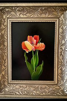 Oils on cradled wood panel, framed by art Mia Pratt, stidio gallelrly in Ajijic, Mexico Parrot Tulips, Oil Painters, Wood Paneling, Art Oil, Mexico, Paintings, Fine Art, Wooden Panelling, Woodwork