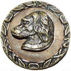 Antique Button Large Metal w/ Wood Back Spaniel Dog
