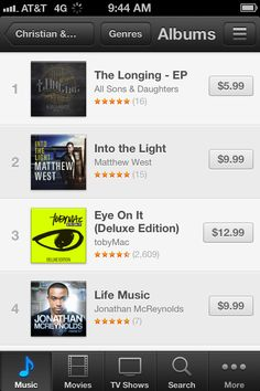 Congratulations to All Sons & Daughters on having the #1 Album this morning! (Christian Genre) Go grab it! http://itunes.apple.com/us/album/the-longing-ep/id563235063?ign-mpt=uo%3D4