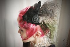 Bird wing feather assemblage with antique jet glass button. Flapper. Gatsby-inspired. Steampunk. Tea party.