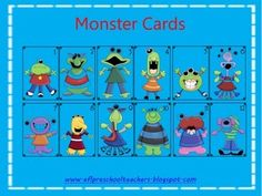 free for limited time... Includes:- Monster Cards- Monster Book- Color SplotchesAs seen on my blog: www.eflpreschoolteachers.blogspot.com