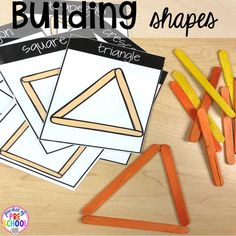 Construction Themed Centers & Activities for Little Learners Building shapes with sticks! Construction themed centers and activities my preschool & pre-k kiddos will LOVE! (math, letters, sensory, fine motor, & freebies too) Preschool Centers, Preschool At Home, Activity Centers, Literacy Centers, Literacy Skills, Preschool Shapes, Prek Literacy, Preschool Prep, Pre K Activities
