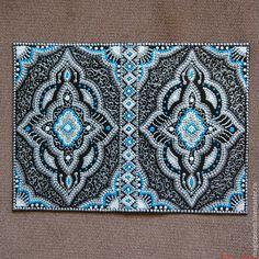 """Купить Обложка на паспорт """"Арабская ночь"""" (24) - серебряный, этника, арабский стиль, арабский орнамент"""