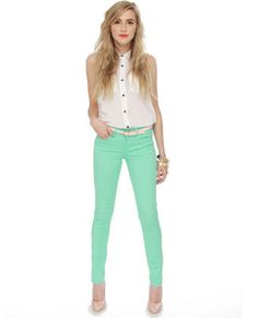 These jeans are amazing. Bright colored jeans are a trend for spring and these jeans are my absolute faves so far. They can go Girly, Hipster, or even grunge