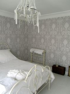 Bedroom Grey Wallpaper Laura Ashley Ideas For 2019 Home Decor Styles, Home Decor Inspiration, Wallpaper Bedroom, Interior, Home Decor, Bedroom Wallpaper Laura Ashley, Laura Ashley Bedroom, Bedroom Vintage, Trendy Bedroom