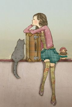 i was thinking about writing a story about a girl adventuring with her cat and this image seemed perfect