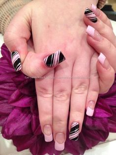 Baby pink and black freehand nail art