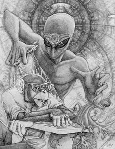 """Terence McKenna: """"Half the time you think you're thinking, you're actually listening. Aliens And Ufos, Ancient Aliens, Terence Mckenna, Alien Tattoo, Arte Obscura, Dragons, Stoner Art, Desenho Tattoo, Alien Art"""