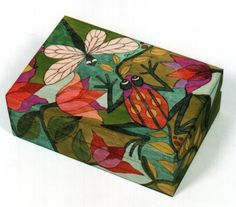 Helen Heins Peterson, creator of handcrafted Painted Furniture, Painted Boxes, Painted Bowls, Modern Whimsical Folk Art and Primitive Woodworks. Painted Trunk, Painted Wooden Boxes, Hand Painted Furniture, Tole Painting, Painting On Wood, Wooden Keepsake Box, Creative Box, Dragonfly Art, Art Folder
