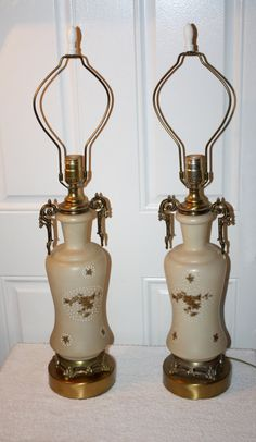 Antique Victorian Glass Brass Cast Table Lamps by QUEENIESECLECTIC, $120.00