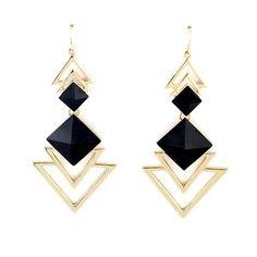 $3.25 - Square Faux Gem Women's Triangle Drop Earrings - WHOLESALE JEWELRY - Wholesalerz.com