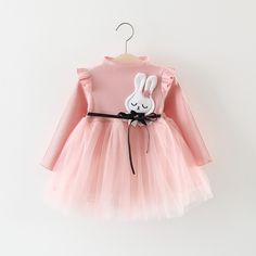 Charming Appliqued Rabbit Tulle Belted Dress for Baby Girl (Pat pat)