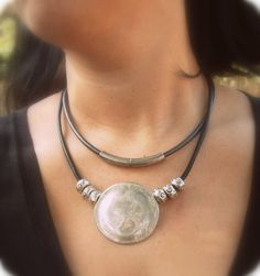 big silver pendant round silver pendant double row black leather Oversized high fashion necklace bold pendant jewelry - libi fadlon