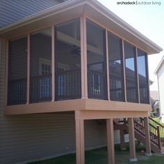 Low Maintenance Screened In Deck Was Designed With Decorative Rails And Lighting Too Perfect