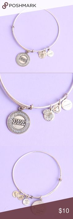 Alex & Ani Tri Sigma Silver Bracelet Some normal wear and tear, bundle with my sigma sigma sigma t shirt! Authentic Alex & Ani Jewelry Bracelets