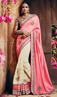 Strut around like a diva, sporting this salmon and cream color georgette silk half n half sari. The ethnic lace, patch, resham and stones work in attire adds a sign of magnificence statement with a look. #attractiveworksarees #fabulousdesignsaris #georgettehalfnhalfsaree