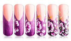 One stroke Nail Polish Designs, Nail Art Designs, One Stroke Nails, Nails First, Purple Nails, Flower Nails, Nail Tutorials, French Nails, Nail Arts