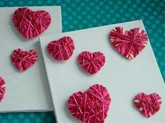 Pretty hearts made from yarn!