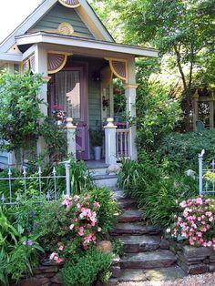 Cottage Patio, Cottage Exterior, Cozy Cottage, Cottage Homes, Cottage Style, Mountain Cottage, Exterior Trim, Cottage Gardens, Exterior Paint Colors