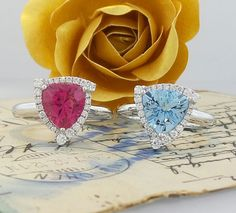 From our trillions collection.  Pink Tourmaline and Aquamarine with diamonds in 18K White Gold.  www.zomacolor.com