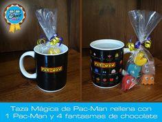 Taza mágica de cerámica decorada con Pac-Man, rellena con un Pac-Man y 4 fantasmas (Blinky, Pinky, Inky y Clyde) de chocolate #ChocoGeek