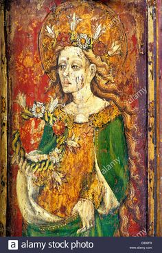 North Elmham, Norfolk, Rood screen, St. Cecilia, patron saint of music English…