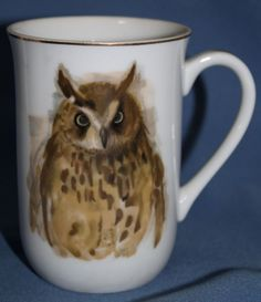 Vintage Owl Coffee Mug Cup Woodland Haven Gold Rimmed Hans Paul Luetcke Painting