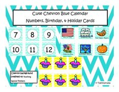 Blue Chevron Calendar Number, Birthday, and Holiday Cards!Easily editable for your own personal use in your classroom. I included plain number cards to be used for any month. There are also plain blue number cards for you to use.Birthday cards are also available in bright yellow so we don't forget kiddos' birthdays!!Finally I have some holiday cards to be used in the classroom.